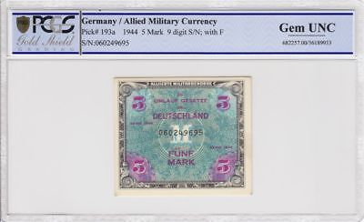 Germany AMC P-193a 5 Mark Allied Military Currency WWII PCGS GEM UNC AUTHENTIC