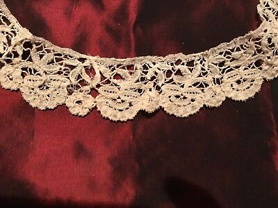 "Beautiful ANTIQUE HANDMADE NEEDLE LACE DUCHESSE LACE  27"" by 1 1/2"""