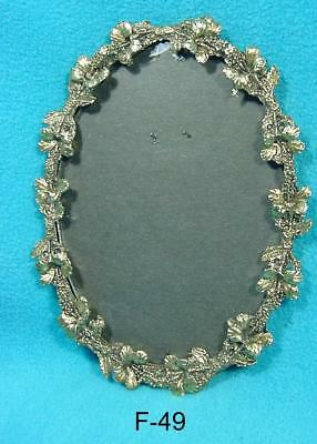 F-49  Antique/vintage Picture Frame, Ornate Oval, Brass Finish,8 X 6""