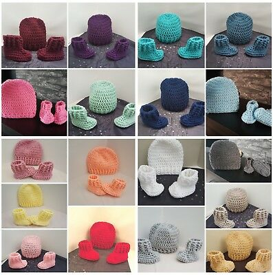 Handmade crochet baby girl boy Hat Booties And Mittens, early baby newborn -12m