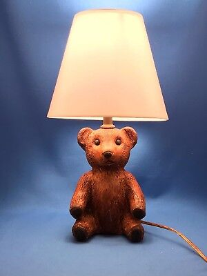 Vintage Brown Resin Teddy Bear Baby Child Electric Lamp with Shade