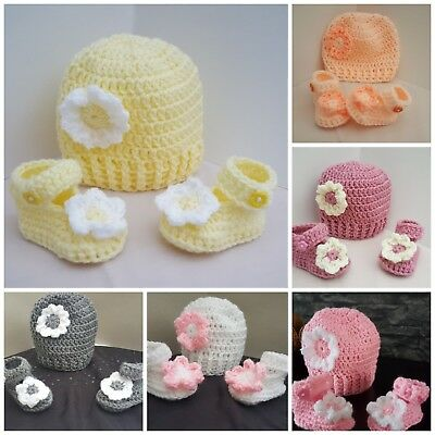 Handmade crochet baby girl hat and booties early baby newborn to 12m