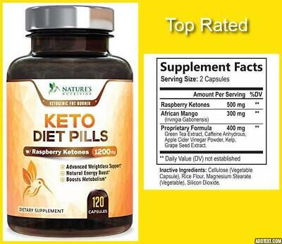 KETO DIET PILLS Nature's Nutrition W/Raspberry Ketones 1200mg WEIGHT LOSS 120CT