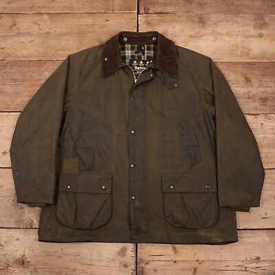 "Mens Vintage Barbour Bedale Green Waxed Cotton Jacket Coat Large 44"" R11026"