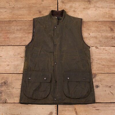 """Mens Vintage Barbour Westmorland Green Waxed Cotton Vest Gilet Small 36"""" R11032"""
