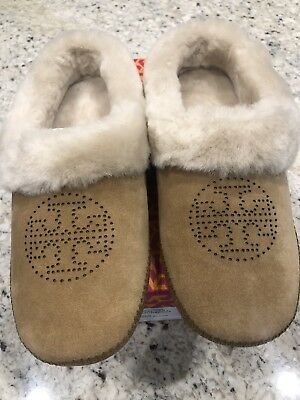 8ee3ed197d2a Tory Burch Coley Slippers Split Suede Perforated Royal Tan Size 9 New in Box