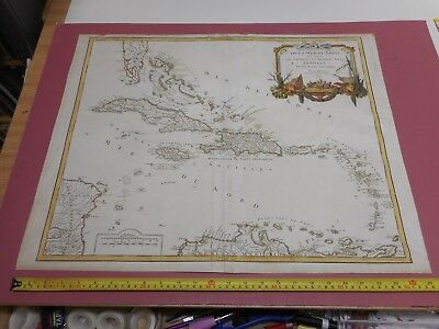 100% Original Large West Indies  Map By Du Roy C1750 Vgc Hand Coloured Florida