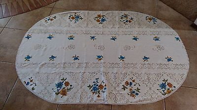 Vintage lace and hand-stitched oval tablecloth with matching napkins 70 x 48