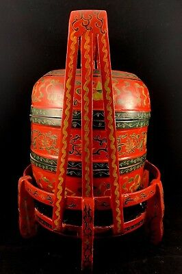 Large Japanese Vintage Red Color Food Storage Case Painted With Dragon