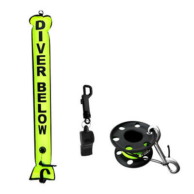 Scuba Diving Safety Sausage SMB Surface Marker Buoy with Dive Reel, Whistle