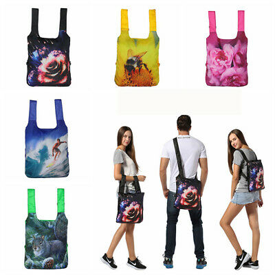 Foldable Printed Reusable Grocery Packable Daypack Tote Waterproof Ultralight