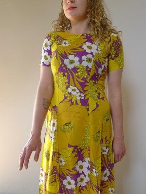 vintage retro S XS 70s unused fine cotton yellow purple floral maxi long dress