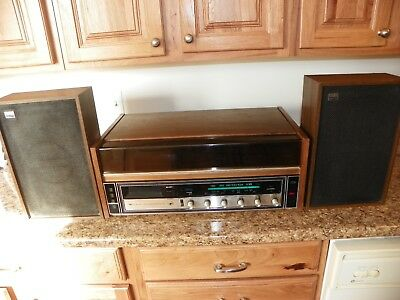 Lear Jet Stereo 8 Track Record Player Model H460 With Speakers Vintage Working