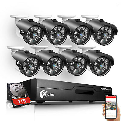 XVIM 8CH 5in1 1080P HDMI DVR 1500TVL Outdoor Home Security Camera System 1TB HDD