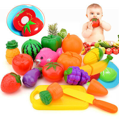 24 x Fruit Toy Vegetable Food Cutting Set Reusable Role Play Pretend Kitchen Kid