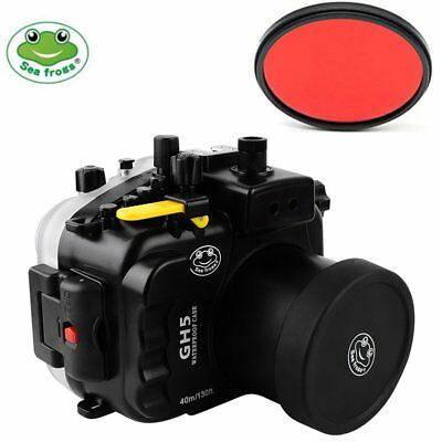 Seafrogs 40m/130ft Waterproof Case + Filter For Panasonic GH5 12-60mm / 45-150mm