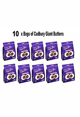🍫 10 X Cadbury Dairy Milk Chocolate Giant Buttons 119g Bags Pouch Sweets 🍫