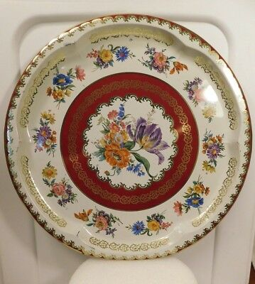 """Vintage Daher Decorated Ware Tin Tray Floral Bouquet Made in England 12.5"""" (C)"""