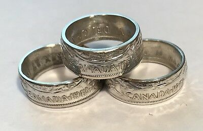 Canada Silver Coin Rings Hand Crafted From Canadian Half Dollar Size: 7-14.5 Nr!