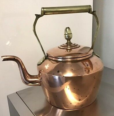 Lovely Used Antique Copper And Brass Kettle 3 Pint
