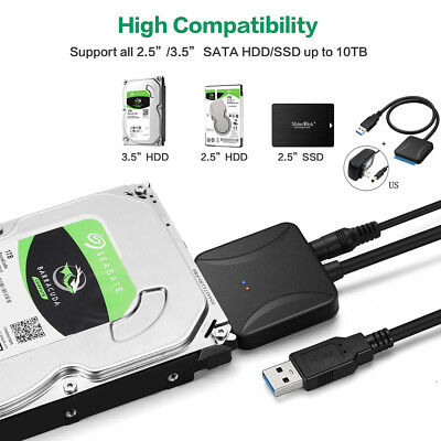 USB3.0 to 2.5 3.5 SATA Hard Drive HDD SDD Converter Adapter PC Cable US Plug GW5