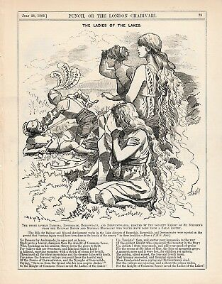 1883 Punch Cartoon Lake District Saved from Railway and Mineral Development