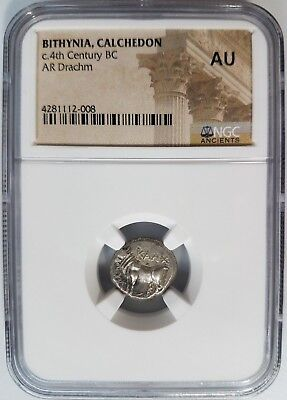 BULL Bithynia Calchedon AR Drachm 400 BC NGC AU Greek Coin Ancient Mill Incuse