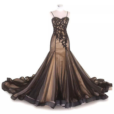 29476299d21a Gothic Black and Champagne Mermaid Wedding Dresses Vintage Tulle Bridal  Dresses