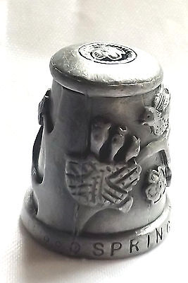 Hi-relief spring pewter thimble Featuring tree with branch's and flower