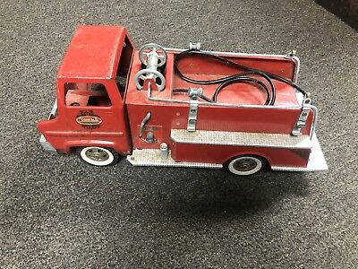 Vintage Tonka Fire Truck 1960's Red Metal Fire Hose Incomplete