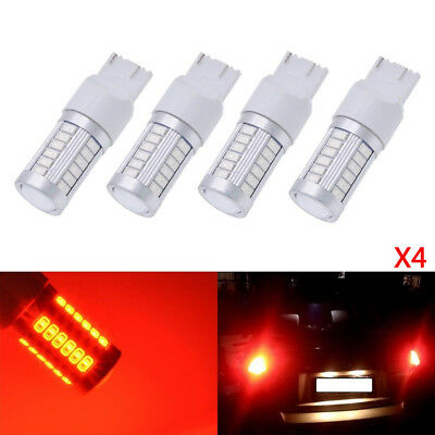 4x T20 Red 7443 7440 5630 33-SMD LED Dome Map Car Backup Reverse Light Bulbs 12V