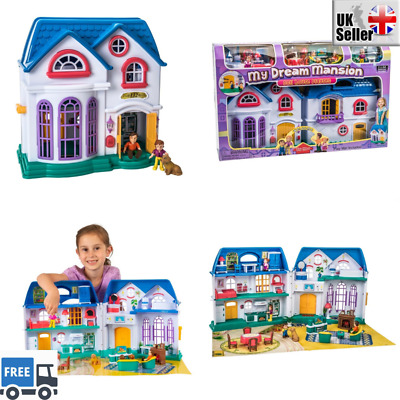 My Dream Mansion 3 Storey Doll House Lights Sounds Accessories Kids Girls Toy