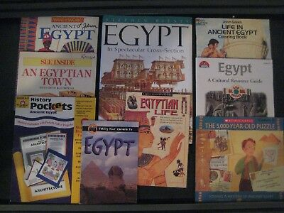 Lot of 9 Ancient EGYPT UNIT books~Teacher Resource~Facts~Activities~Fun~MORE