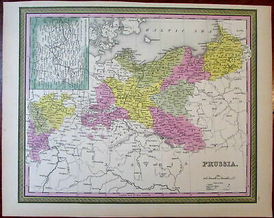 Prussia on Baltic Sea Germany Pomerania 1851 Cowperthwait Mitchell scarce map