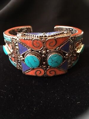 CORAL & TURQUOISE Cuff BRACELET Stunning Unique Western Cowgirl Statement