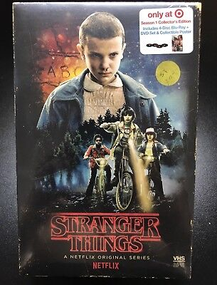 🔥STRANGER THINGS Season 1 Blu-ray DVD TARGET VHS COLLECTORS EDITION POSTER +FS!