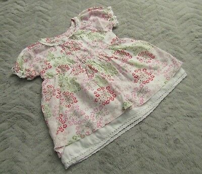 Baby Girls 100% Cotton White Floral Short Sleeve Dress (3-6 Months)