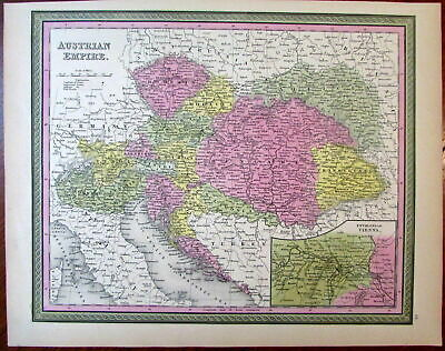 Austrian Empire Hungary Bohemia Vienna 1851 Cowperthwait Mitchell scarce map