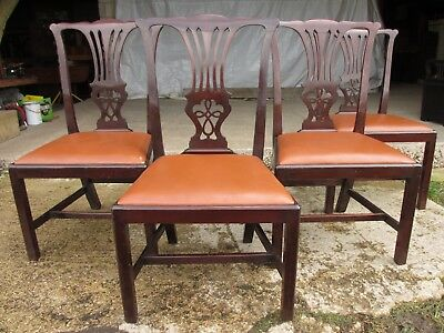 Set of four 19th century mahogany Chippendale style dining chairs (ref 634)
