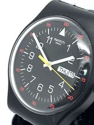 Swatch Black & Red Dial Day Date 41mm Rubber Band Swiss Quartz Men's Watch