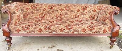 Victorian carved mahogany show frame rose upholstered sofa (ref 639)