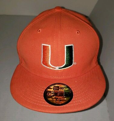 outlet store 680a9 907db New Era Miami Hurricanes Orange Savvy 59FIFTY 5950 7 1 4 Fitted Hat  Baseball Cap