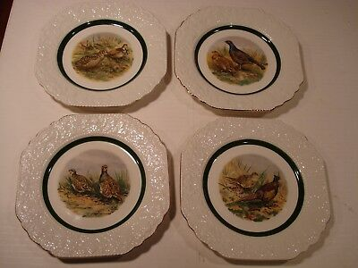 4 Cuthbertson Game Birds Square Plates Made in England Hand Accented