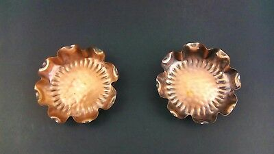 Pair of Gregorian Solid Copper Hand Hammered Round Ash Tray Made in the USA