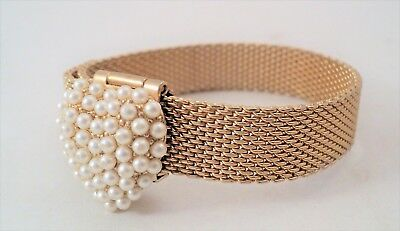 Vintage Art Deco Revival Mesh Adj Bracelet White Pearl Heart Clasp - Estate Find