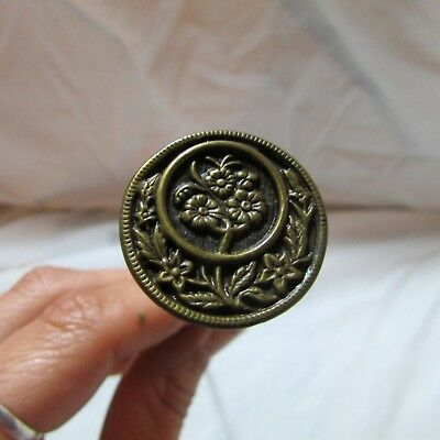 Vintage Antique Victorian Brass Tone Embossed Floral Design Round Hat Pin