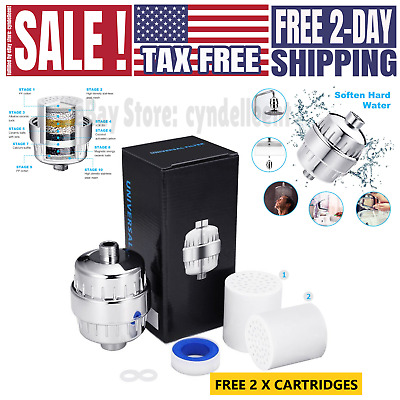 12-Stage Universal Shower Head Water Filter Hard Water Softener with 2 Cartridge