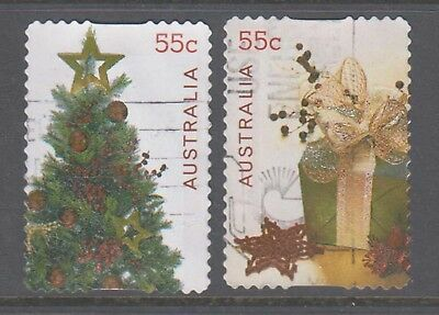 Australia 2011 Christmas Used pair Embellished self adhesive stamps.Tree,gifts.
