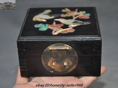 Old Chinese Rosewood Wood inlay Shell Turquoise Bird Ancient Jewelry Box Boxes