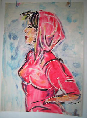 LP17 (A2) Fabulous Watercolor Resist Painting Girl in Hoodie Unsigned